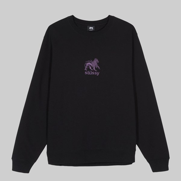 STUSSY LION APPLIQUE CREW BLACK