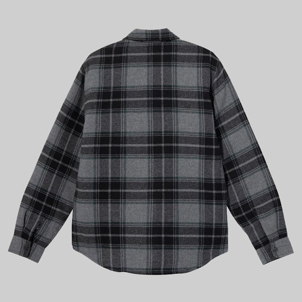 STUSSY MAX PLAID QUILTED SHIRT JACKET GREY