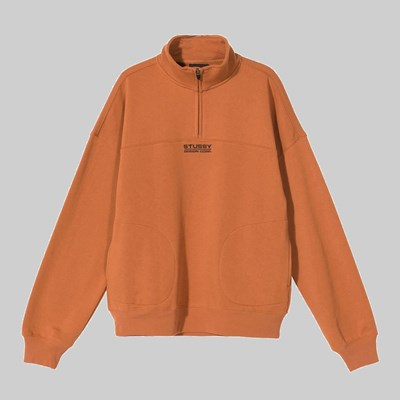 STUSSY MOCK NECK HALF ZIP CLAY