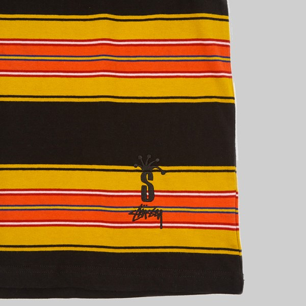 STUSSY MULTI STRIPE CREW BLACK