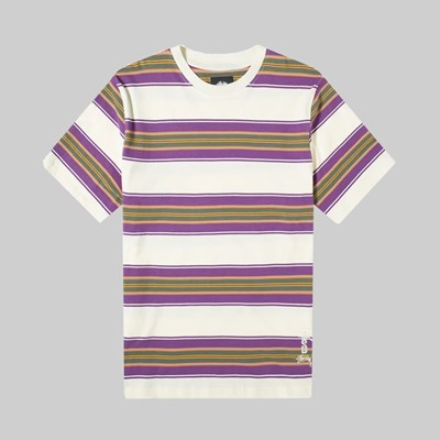 STUSSY MULTI STRIPE CREW NATURAL