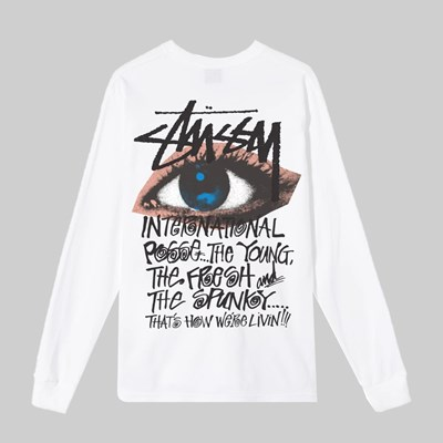 STUSSY OCULAR LONG SLEEVE T-SHIRT WHITE