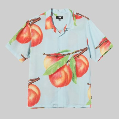 STUSSY PEACH PATTERN SHIRT LIGHT BLUE