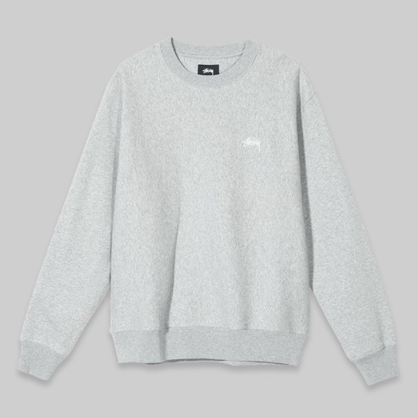 STUSSY STOCK LOGO CREW SWEAT GREY HEATHER