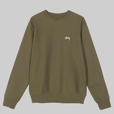 STUSSY STOCK LOGO CREW SWEAT OLIVE
