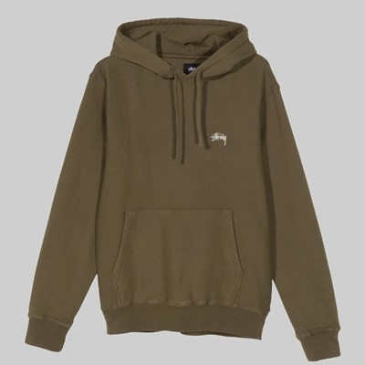 STUSSY STOCK LOGO HOODED SWEAT OLIVE