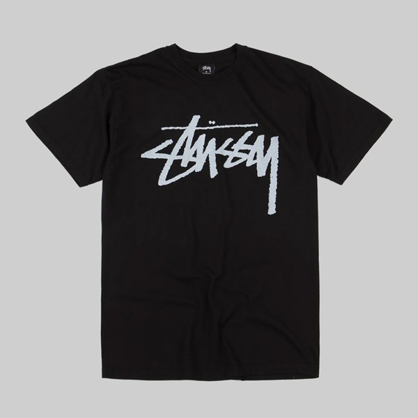 STUSSY STOCK LOGO PIG DYED SS T-SHIRT BLACK