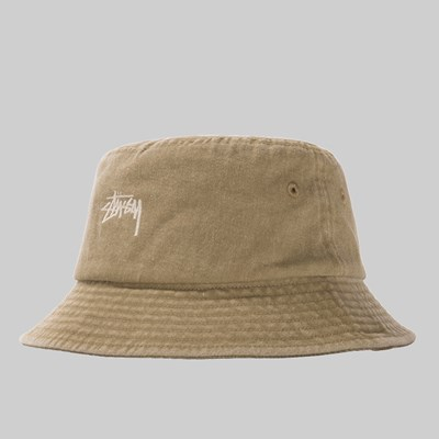 STUSSY STOCK WASHED BUCKET HAT KHAKI