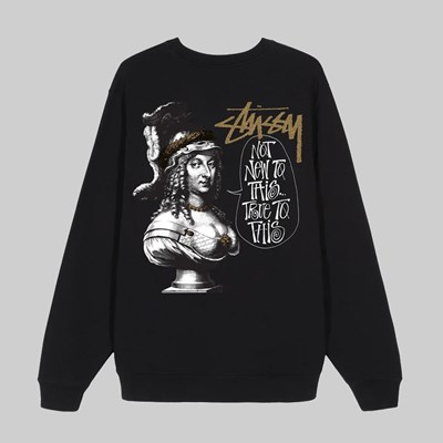 STUSSY TRUE TO THIS CREW FLEECE BLACK