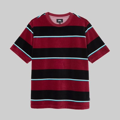 STUSSY VELOUR STRIPE CREW WINE