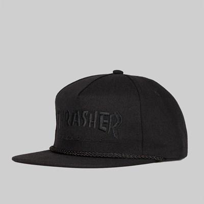 ecc7191dbe3 THRASHER LOGO ROPE SNAPBACK CAP BLACK BLACK