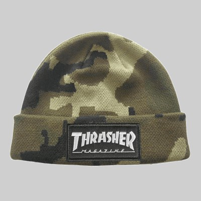 THRASHER BEANIE LOGO PATCH CAMO