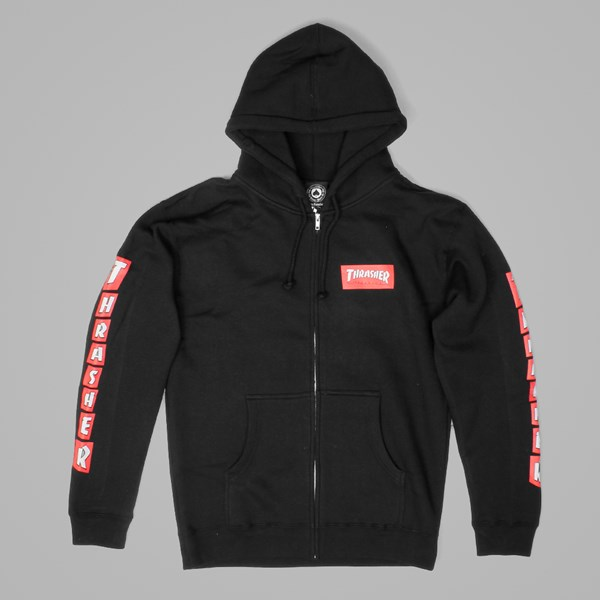 THRASHER BOXED LOGO ZIP HOODY BLACK