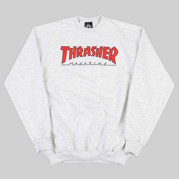 THRASHER OUTLINED CREW SWEAT ASH GREY