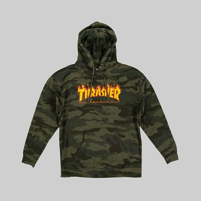 THRASHER FLAME LOGO HOODIE FOREST CAMO