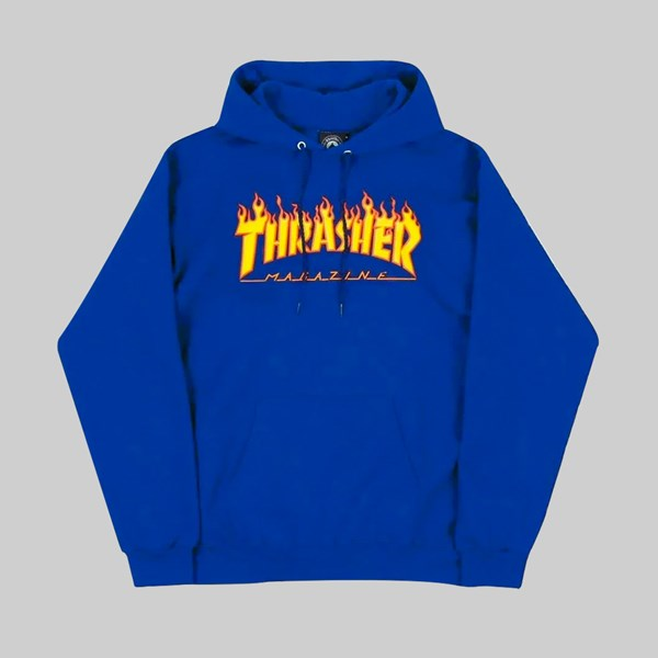 THRASHER FLAME LOGO PO HOOD ROYAL BLUE