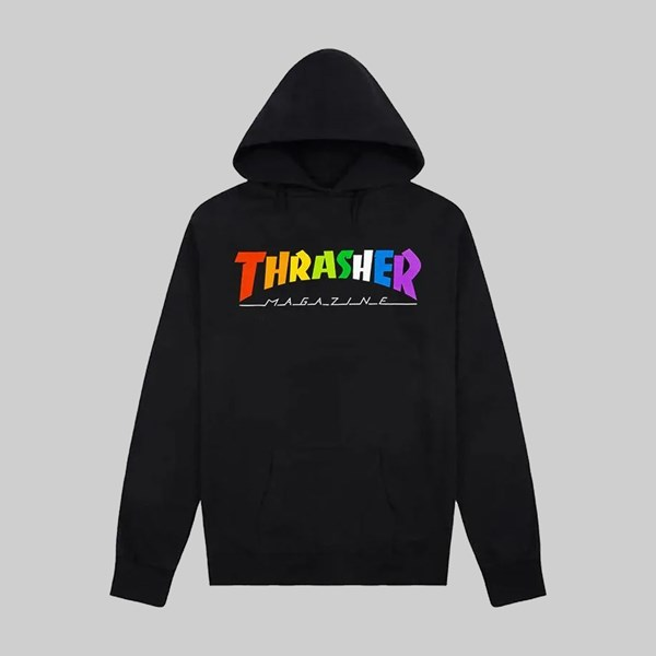 THRASHER RAINBOW MAG HOODY BLACK
