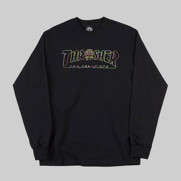 THRASHER CABLE CAR LONG SLEEVE TEE BLACK