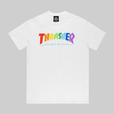 THRASHER RAINBOW MAG SS T-SHIRT WHITE