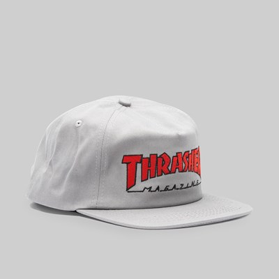 THRASHER OUTLINED SNAPBACK CAP GREY RED