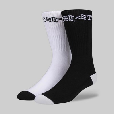 THRASHER SKATE AND DESTROY SOCKS (2 PACK) BLACK WHITE
