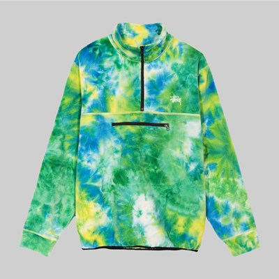 STUSSY POLAR FLEECE MOCK NECK JACKET TIE DYE