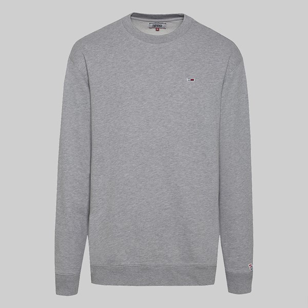 TOMMY JEANS CLASSICS CREW SWEAT LT GREY HEATHER