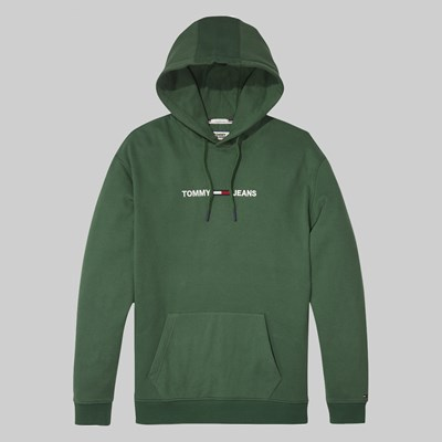TOMMY JEANS SMALL LOGO HOODIE HUNTER GREEN
