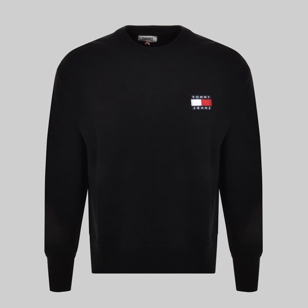 TOMMY JEANS BADGE CREW SWEAT BLACK