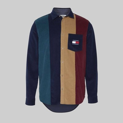 TOMMY JEANS COLOUR BLOCK CORD LS SHIRT MULTI