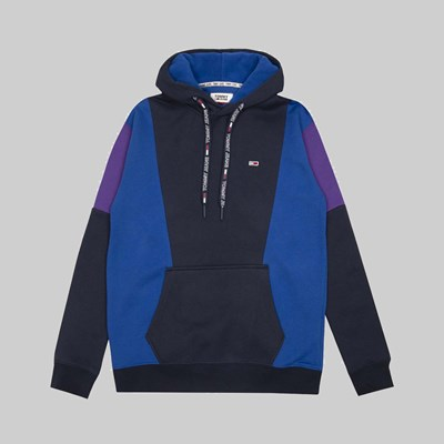 TOMMY JEANS COLOUR BLOCK HOODIE BLACK IRIS