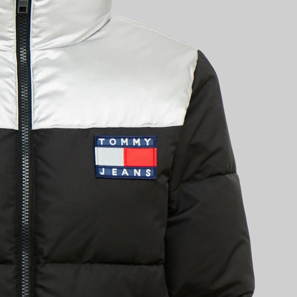 TOMMY JEANS METALLIC PUFFA JACKET BLACK METALLIC