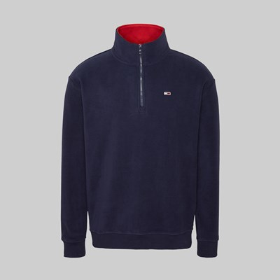 TOMMY JEANS POLAR FLEECE MOCK NECK BLACK IRIS