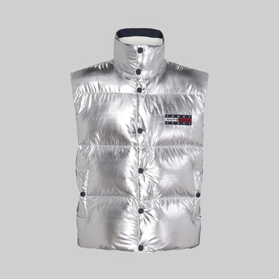 TOMMY JEANS METALLIC SILVER PUFFER VEST SILVER
