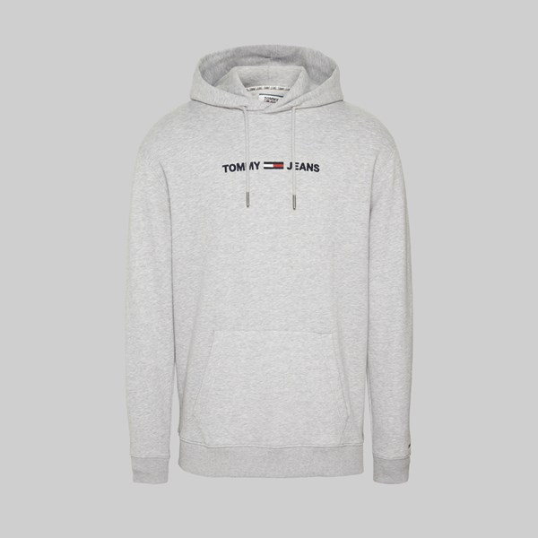 TOMMY JEANS STRAIGHT LOGO HOOD LT GREY HEATHER