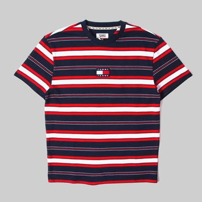 TOMMY JEANS STRIPE LOGO SS T-SHIRT TWILIGHT NAVY