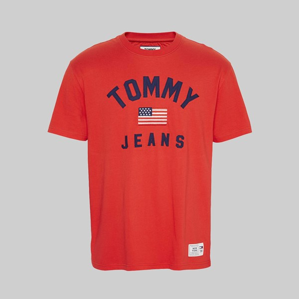 TOMMY JEANS USA FLAG SS T-SHIRT FLAME SCARLET