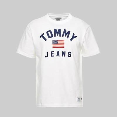 TOMMY JEANS USA FLAG SS T-SHIRT CLASSIC WHITE