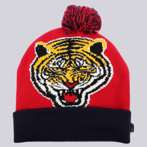Undefeated Tiger Pom Pom Beanie Red