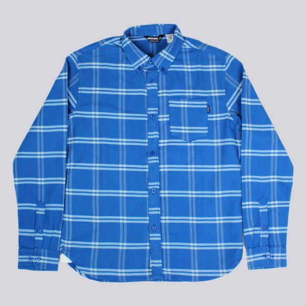 Undefeated Uprising Flannel Long Sleeve Shirt Blue