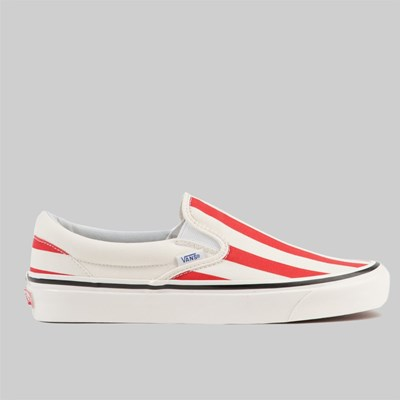 VANS SLIP ON ANAHEIM 'BIG STRIPES' OG WHITE OG RED