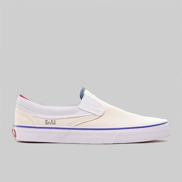 VANS SLIP-ON OUTSIDE IN ANAHEIM NATURAL NAVY RED