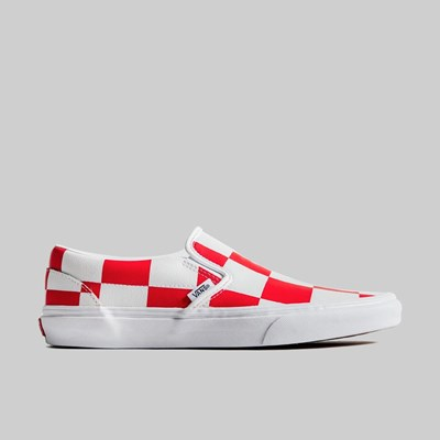 VANS CLASSIC SLIP ON LEATHER TRUE RED WHITE CHECKER