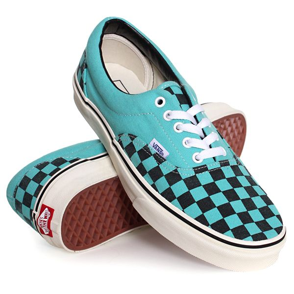 0a30326cea Vans Era Trainers Washed Checker Pool Blue