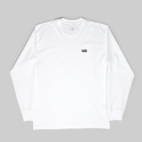 VANS LEFT CHEST LOGO LONG SLEEVE TEE WHITE
