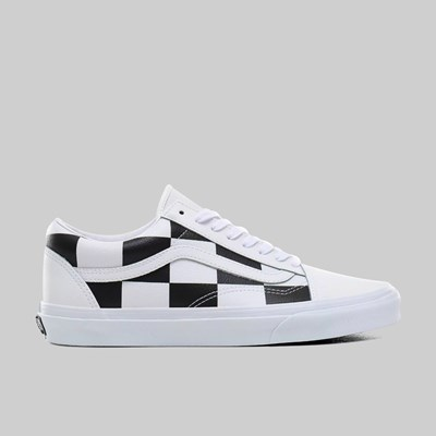 VANS OLD SKOOL (LEATHER CHECK) TRUE WHITE BLACK